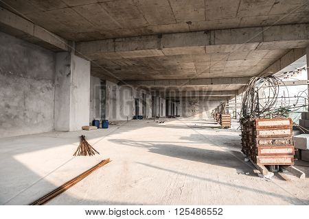 unfinished building inside in a horizontal composition