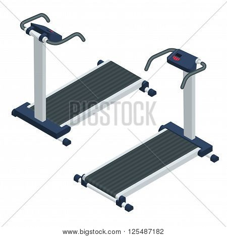 Treadmill isometric vector illustration. Treadmill isolated on white background