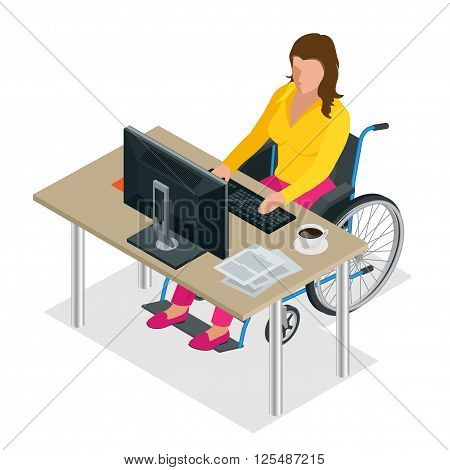 Handicapped woman in wheelchair in a office working on a computer. Flat 3d isometric vector illustration. International Day of Persons with Disabilities
