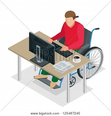 Handicapped man in wheelchair in a office working on a computer. Flat 3d isometric vector illustration