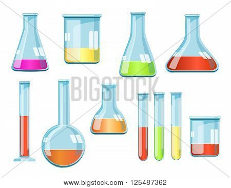Vector laboratory glassware with liquids of different colors. Vector illustration