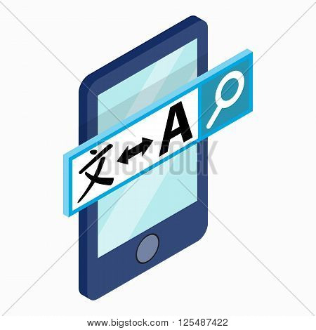 Smartphone with translator on the screen icon in isometric 3d style on a white background