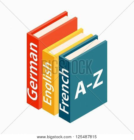 Dictionaries boor icon in isometric 3d style on a white background