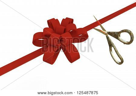 Grand Opening with a scissors and red ribbon on a white background, 3d  illustration
