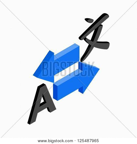 Translation icon in isometric 3d style on a white background