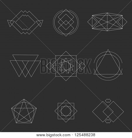 Set geometric shapes signs, labels, and frames triangles line design elements vector illustration. Abstract geometric shapes and geometric shapes design. Element line sign geometric  esoteric symbols.