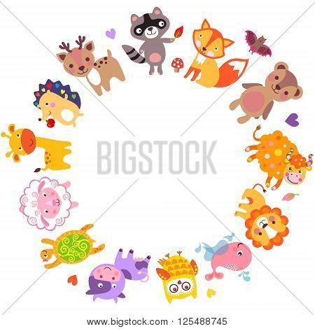 Cute animals walking around globe Save animals emblem animal planet animals world.