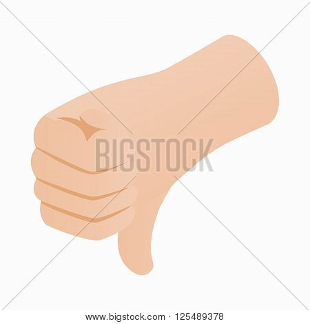 Thumb down gesture icon in isometric 3d style on a white background