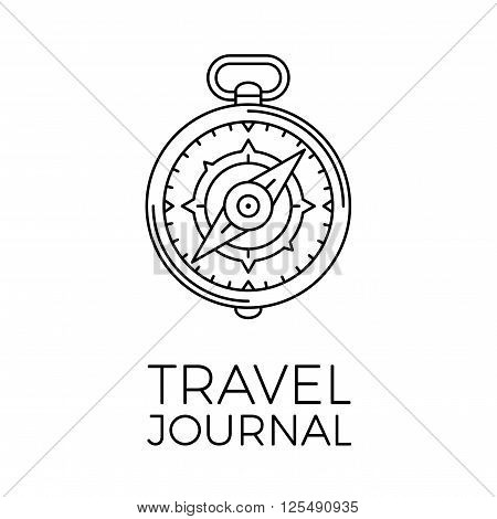Retro thin line travel illustration. Outline vintage journey symbol. Simple mono linear tour logo. Stroke vector expedition concept isolated on white background