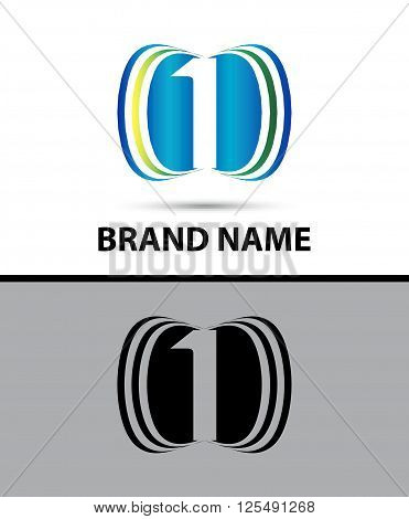 Number one 1 logo design illustration abstract template