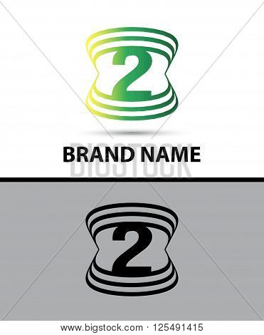 Number 2 logo. Vector logotype design abstract
