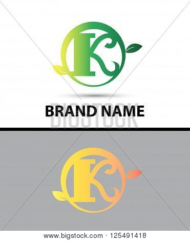 Leaf icon Logo Letter k design template abstract