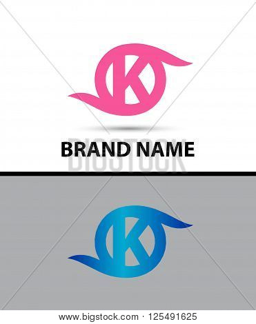 Abstract letter K logo icon design template