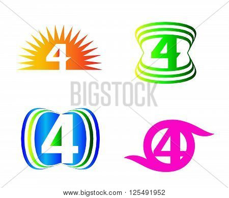 Abstract icons for number 4 logo template