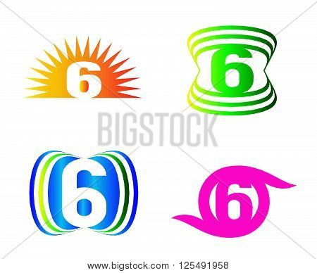 Number six 6 logo icon design template
