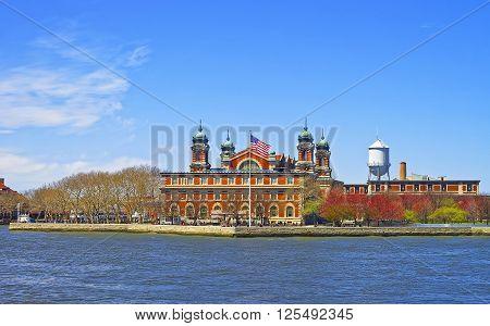 View on Ellis Island USA in Upper New York Bay