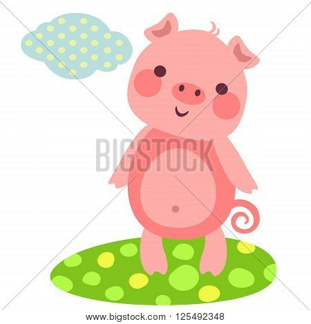 Vector illustration of cute piggy on a meadow. Little smiling pig