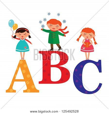 Vector illustration of cute kids with Abc blocks abc letters