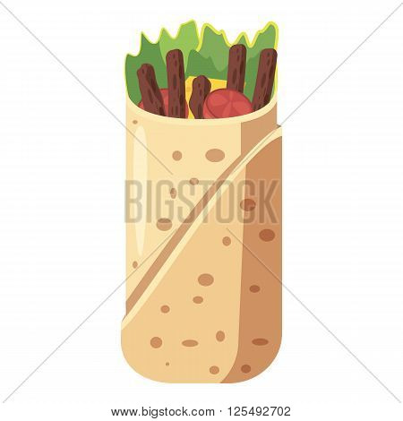 Shawarma icon in cartoon style isolated on white background