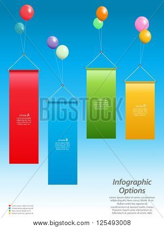 Info graphic Background with Banners Floating attached to Balloons Over Blue Sky