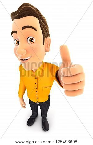 3d man positive pose with thumb up isolated white background