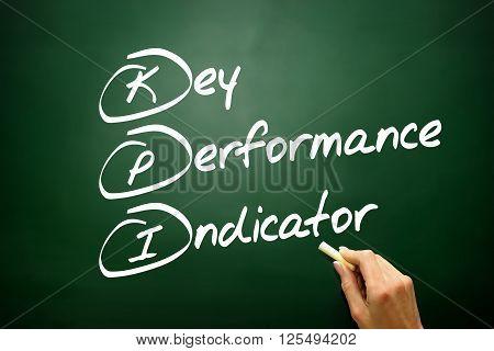 Hand Drawn Key Performance Indicator (kpi) Concept, Business Strategy On Blackboard..