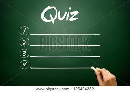 Hand Drawn Quiz Blank List, Business Concept On Blackboard..