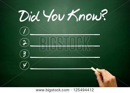 Hand Drawn Did You Know? Blank List, Business Concept On Blackboard..