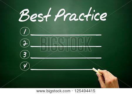 Hand Drawn Best Practice Blank List, Business Concept On Blackboard..