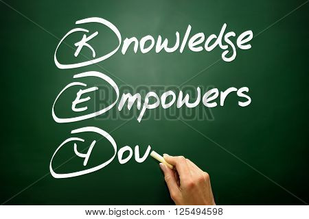 Hand Drawn Knowledge Empowers You (key), Business Concept On Blackboard..