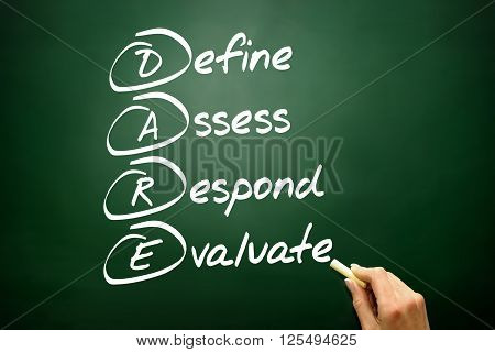 Hand Drawn Define Assess Respond Evaluate (dare), Business Concept On Blackboard..