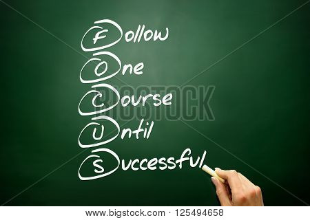 Hand drawn FOCUS acronym business, presentation background