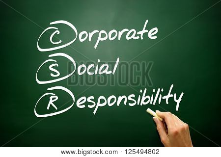 Hand Drawn Corporate Social Responsibility (csr), Business Concept Acronym On Blackboard..