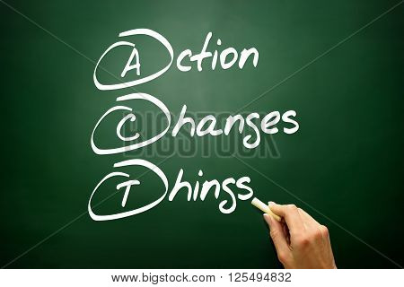 Hand Drawn Action Changes Things (act), Business Concept Acronym On Blackboard..