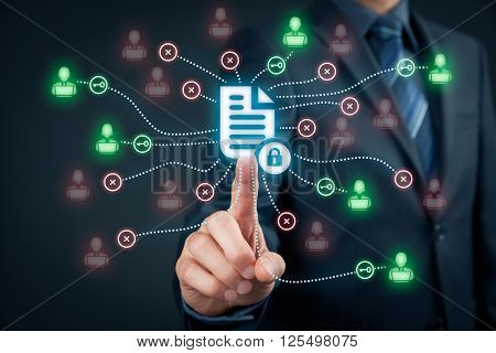 Corporate data management system (DMS) and document management system with privacy theme concept. Businessman click (or publish) on protected document connected with users access rights symbolized by key.