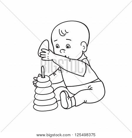 Little lovely baby boy playing with toys. Kid plays with pyramid. Drawing contour vector illustration. Black and white background