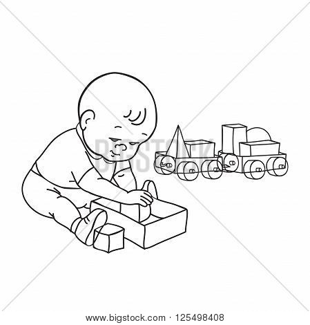 Little lovely baby boy playing with toys. Kid plays with constructor train from geometric shapes. Kid builds house from cubes. Drawing contour vector illustration. Black and white background