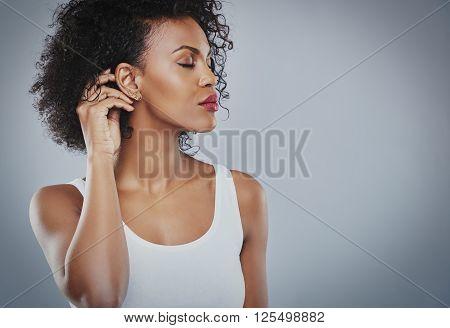 Beautiful Woman With Big Black Hair White Shirt, Black Woman