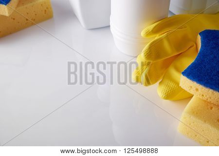 Professional Cleaning Equipment On Table Elevated View