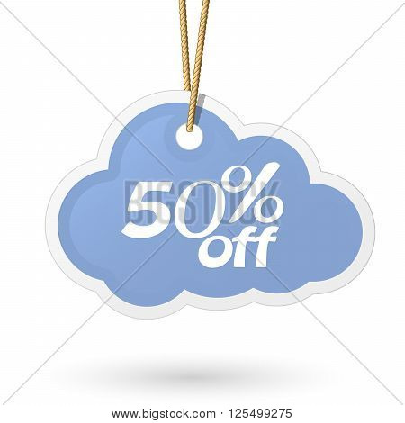 Cloud shaped price tag hanging on rope