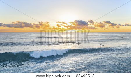 Paddle boarding across the ocean at sunrise