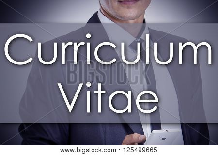 Curriculum Vitae - Young Businessman With Text - Business Concept