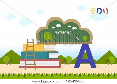 education flat background with blackboard and book