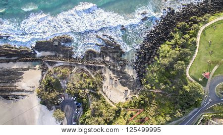 Aerial view of Snapper Rocks and Froggies beach. Gold Coast, Australia