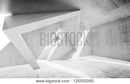 3D White Concrete Interior With Chaotic Columns