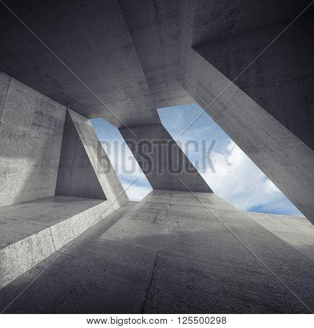 Abstract Dark Empty Concrete Room Interior 3D