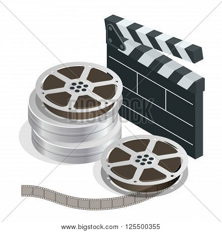 Cinema with film movie tape disks in boxes and directors clapper for film making. Flat 3d isometric Vector Illustration