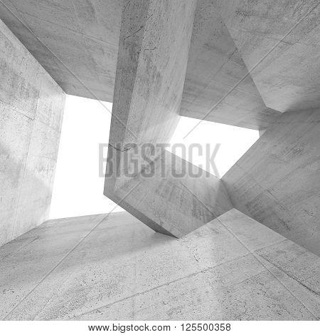 Abstract 3D Empty Concrete Interior Design