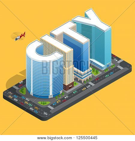 Modern high quality city building. Isomeric flat city center concept. City skylines background vector illustration. Business center building
