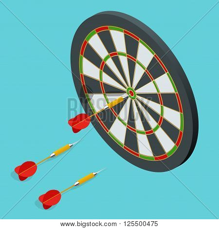Darts target icon. Darts arrows in the target center. Darts target flat 3d isometric vector illustration